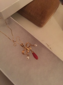 Vintage coral and pearl necklace